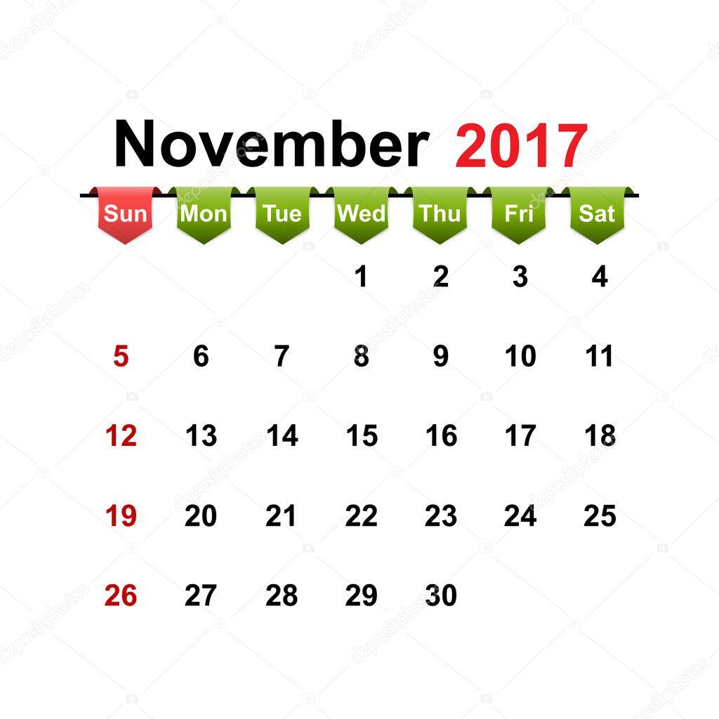 Calendario simple vector 2017 a o mes de noviembre archivo im genes vectoriales samarets1984 - Mes noviembre 2017 ...