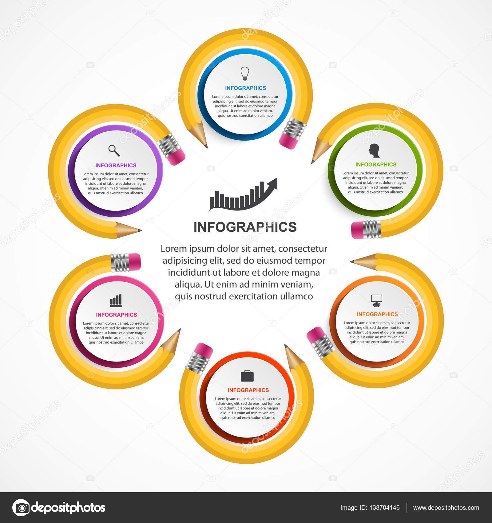 d49b333a773b8 Plantilla de infografías educativa. Infografías para presentaciones de  negocios o información banner — Vector de