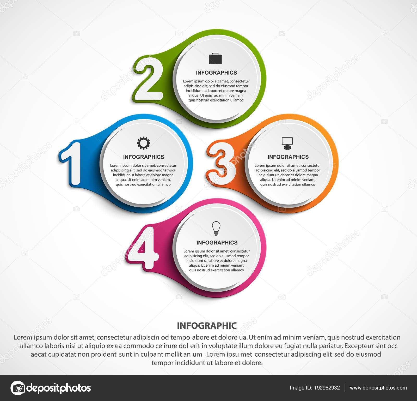 Abstract options infographics template with numbers option