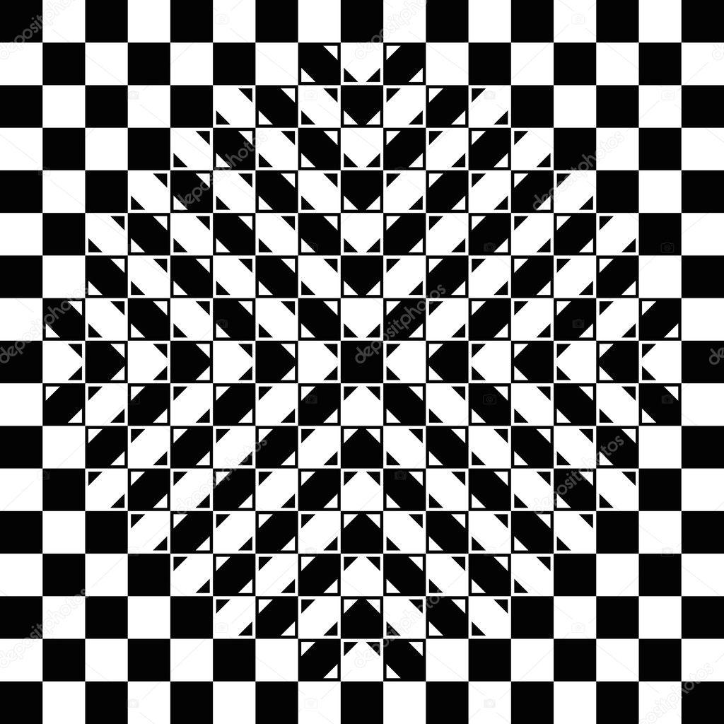 0485f7421 Abaulamento ilusão do tabuleiro de damas. O quadriculado é totalmente  regular