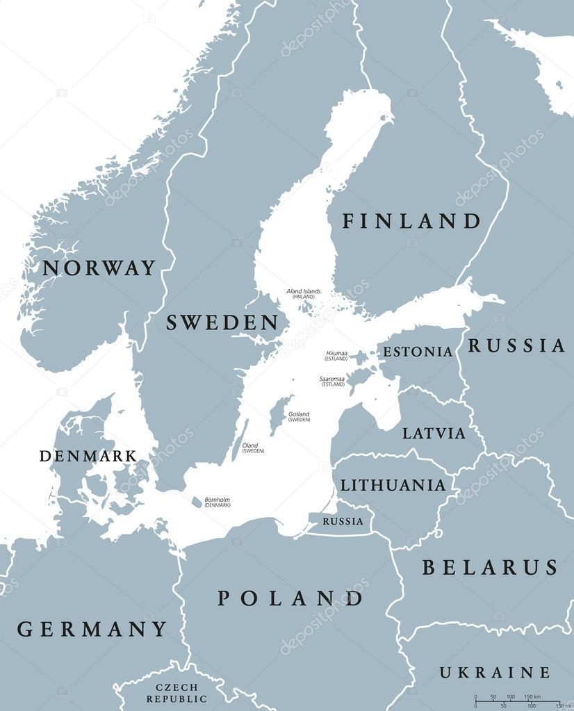 Baltic Sea area countries political map Stock Vector Furian