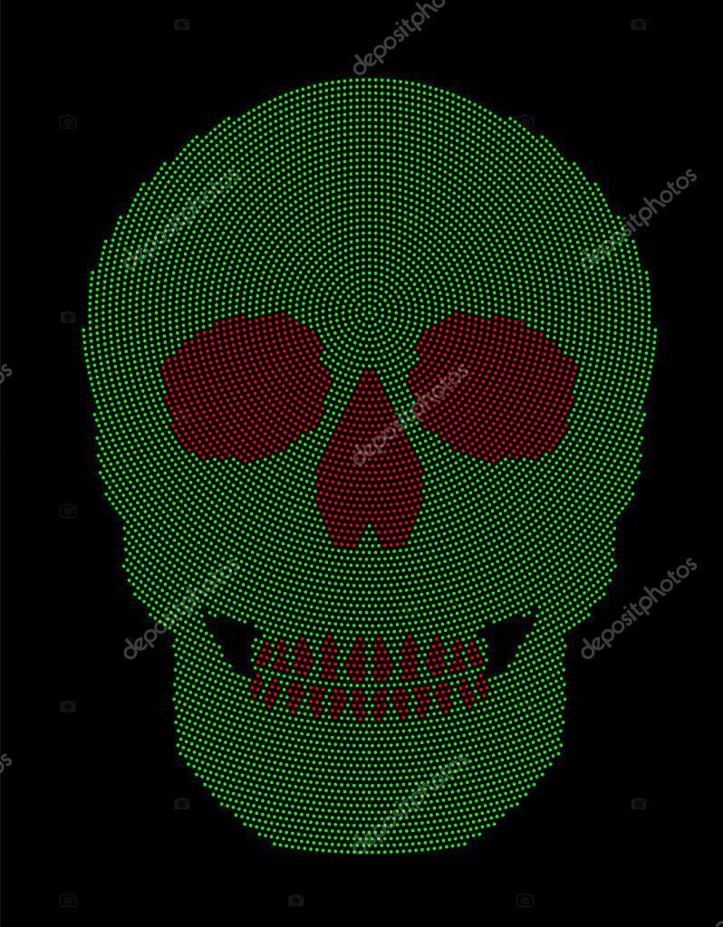 Patrón de punto radial rojo verde símbolo del cráneo — Vector de ...