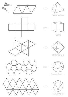 Platonic Solids Craft Pattern Template