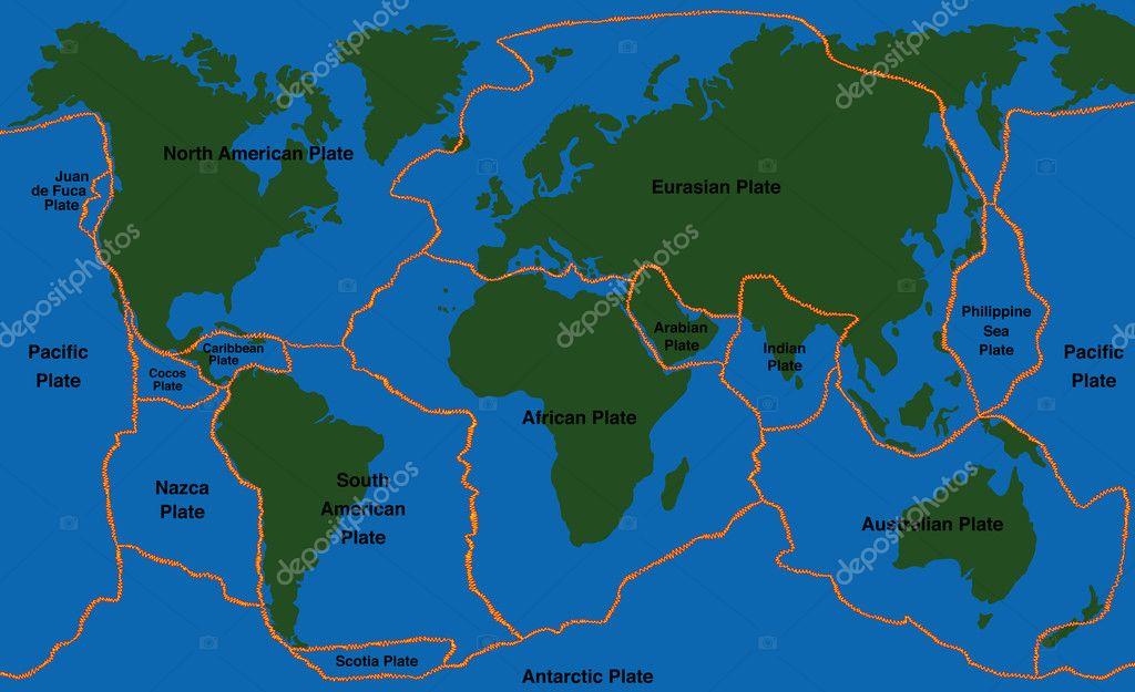 Plate Tectonics World Map Faultlines