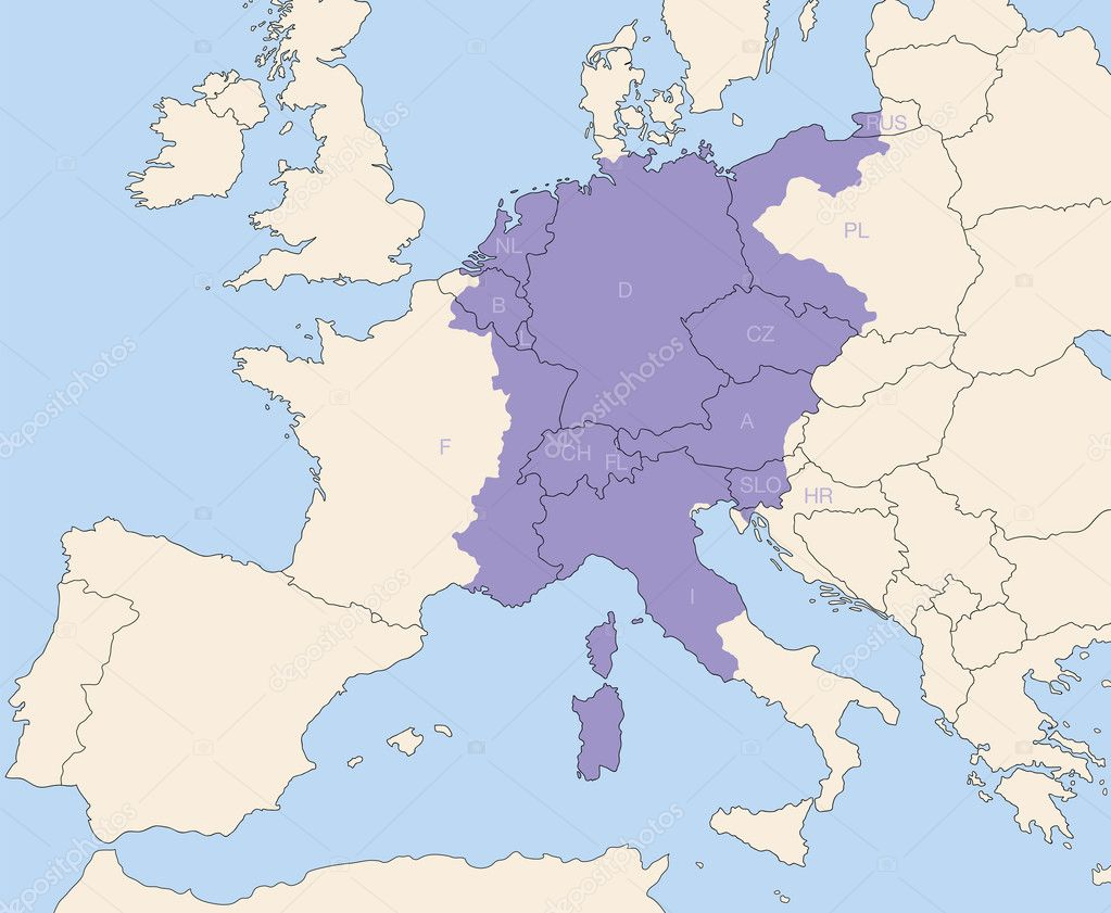 Heiliges Römisches Reich Karte.Heiligen Römischen Reiches Gebiet Weitestgehend Stockvektor