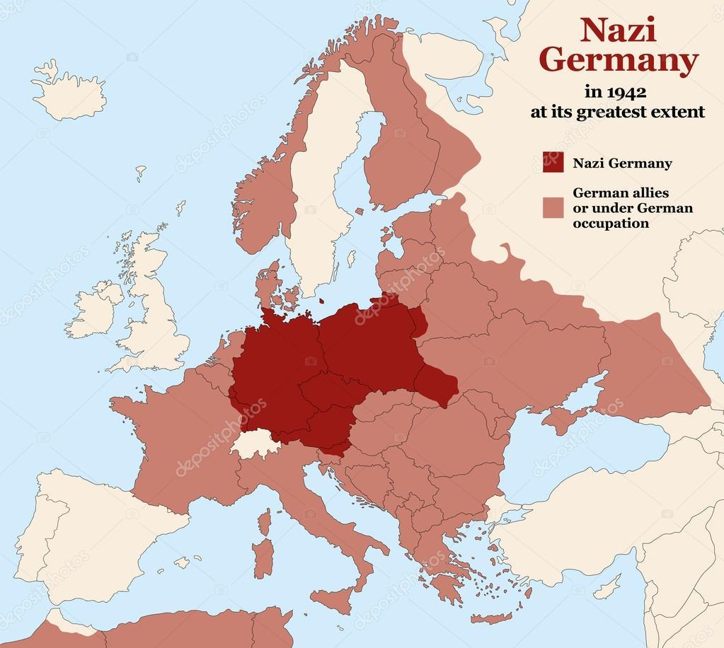 Karta Europa Andra Varldskriget.Nazistiska Tyskland Tredje Rikets Storsta Utstrackning Stock