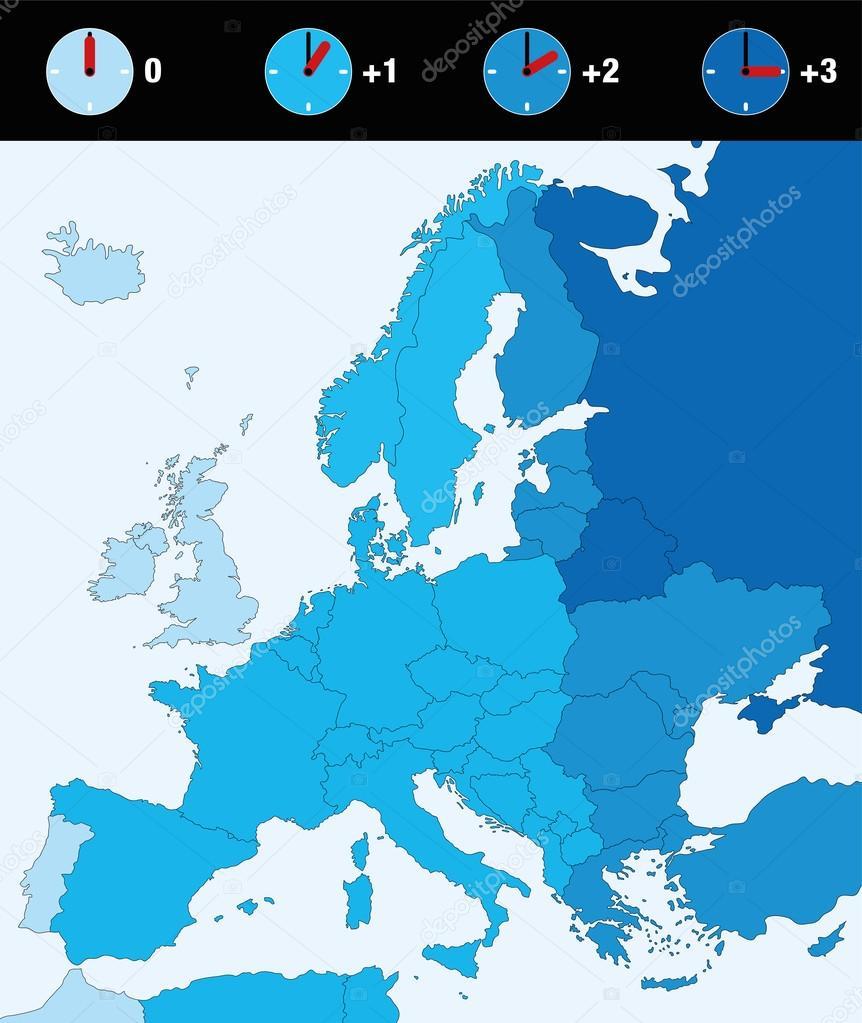 Karta Europa Tidszoner.Tidszoner Europa Standardtid Stock Vektor C Furian 127707708