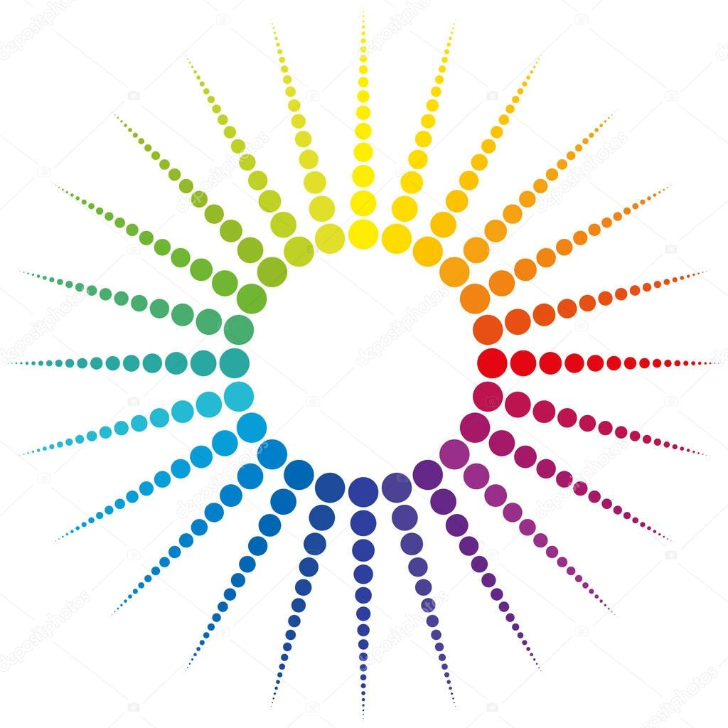 sun rays rainbow colored dots stock vector furian 130180868 rh depositphotos com