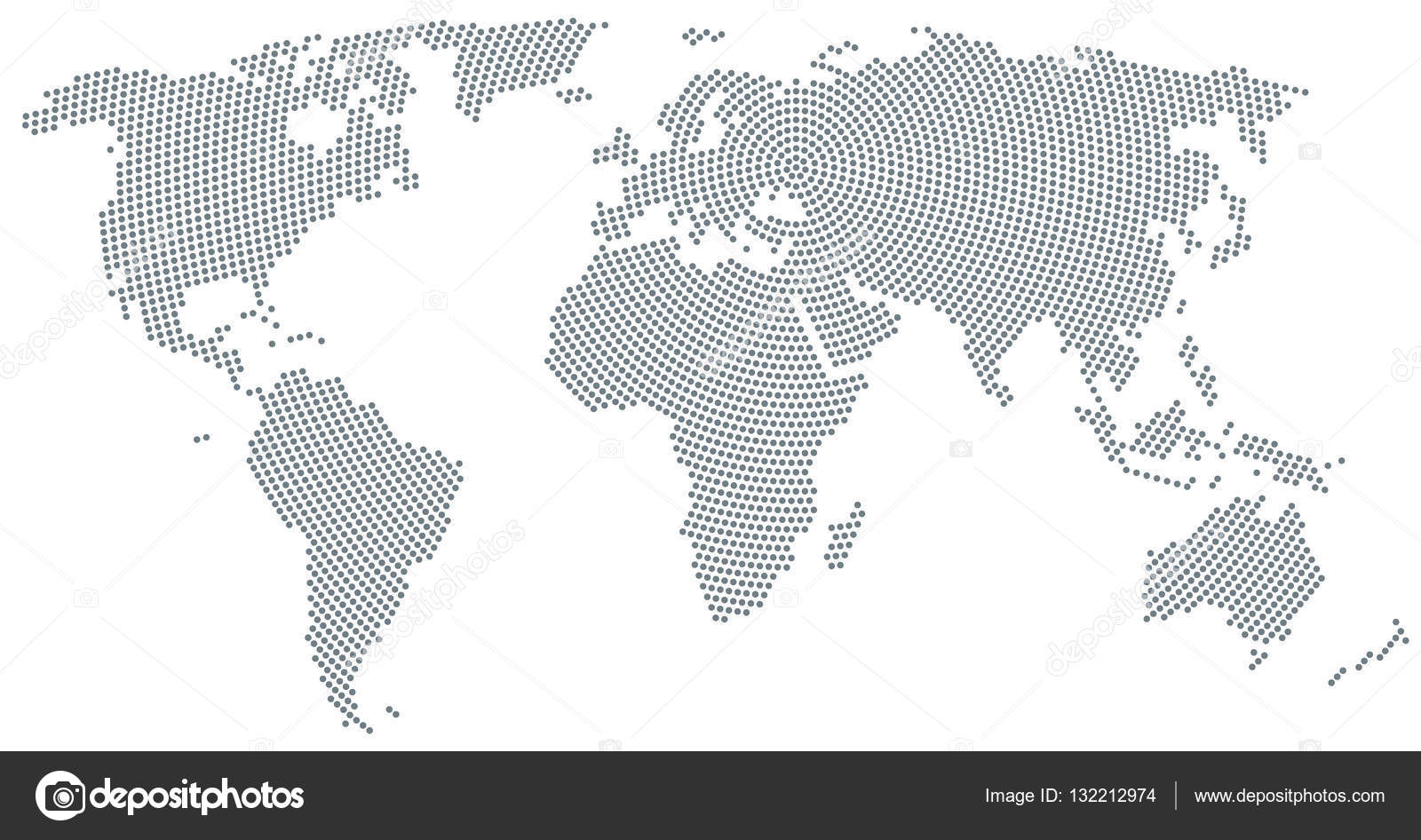 World Map Radial Dot Pattern Gray Color Stock Vector C Furian