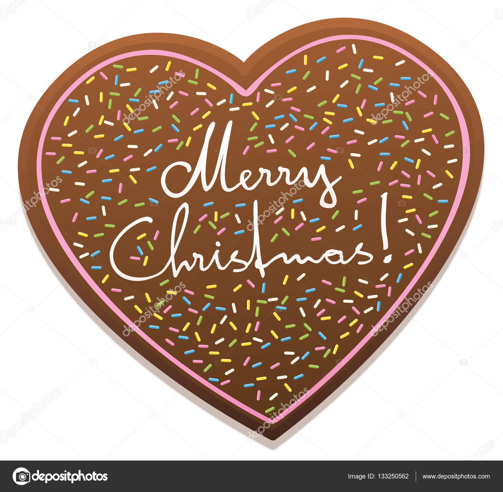 Gingerbread Heart Merry Christmas — Stock Vector © Furian #133250562
