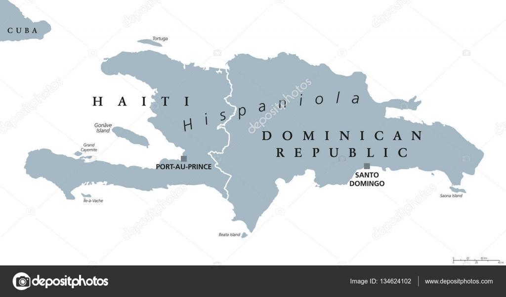 Hispaniola Political Map With Haiti And Dominican Republic Stock
