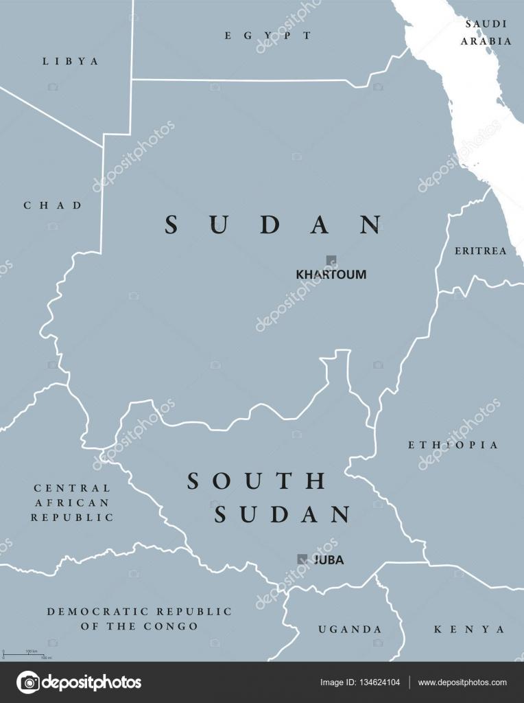 Sudan and South Sudan political map Stock Vector Furian 134624104