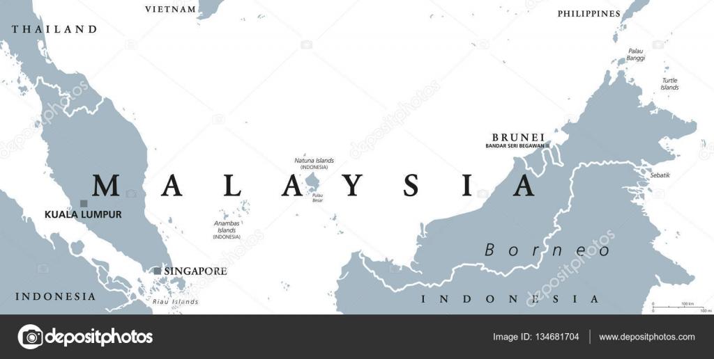Malaysia political map Stock Vector Furian 134681704