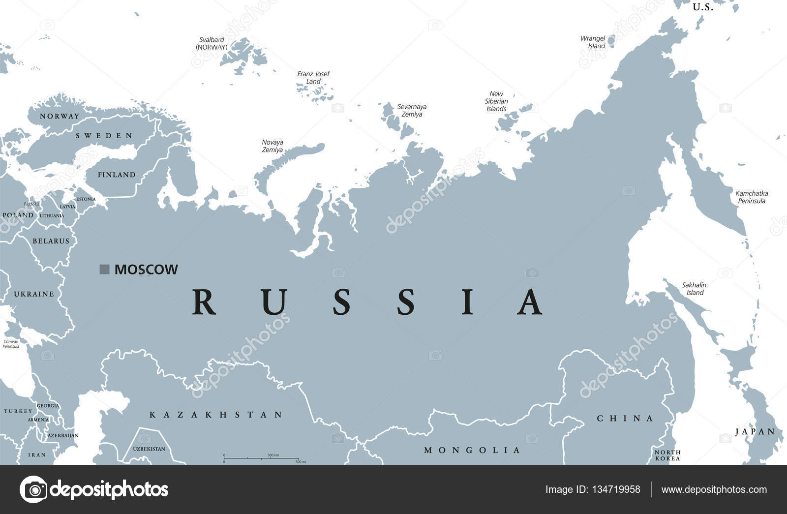 Russia political map — Stock Vector © Furian #134719958