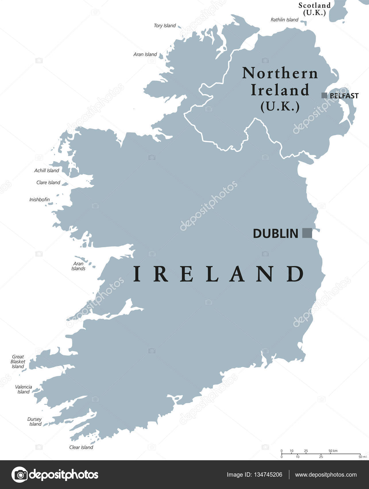 Republic Of Ireland And Northern Ireland Political Map Stock