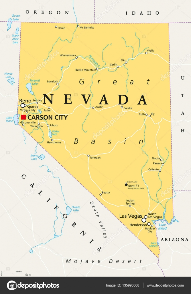 Nevada political map Stock Vector Furian 135990008
