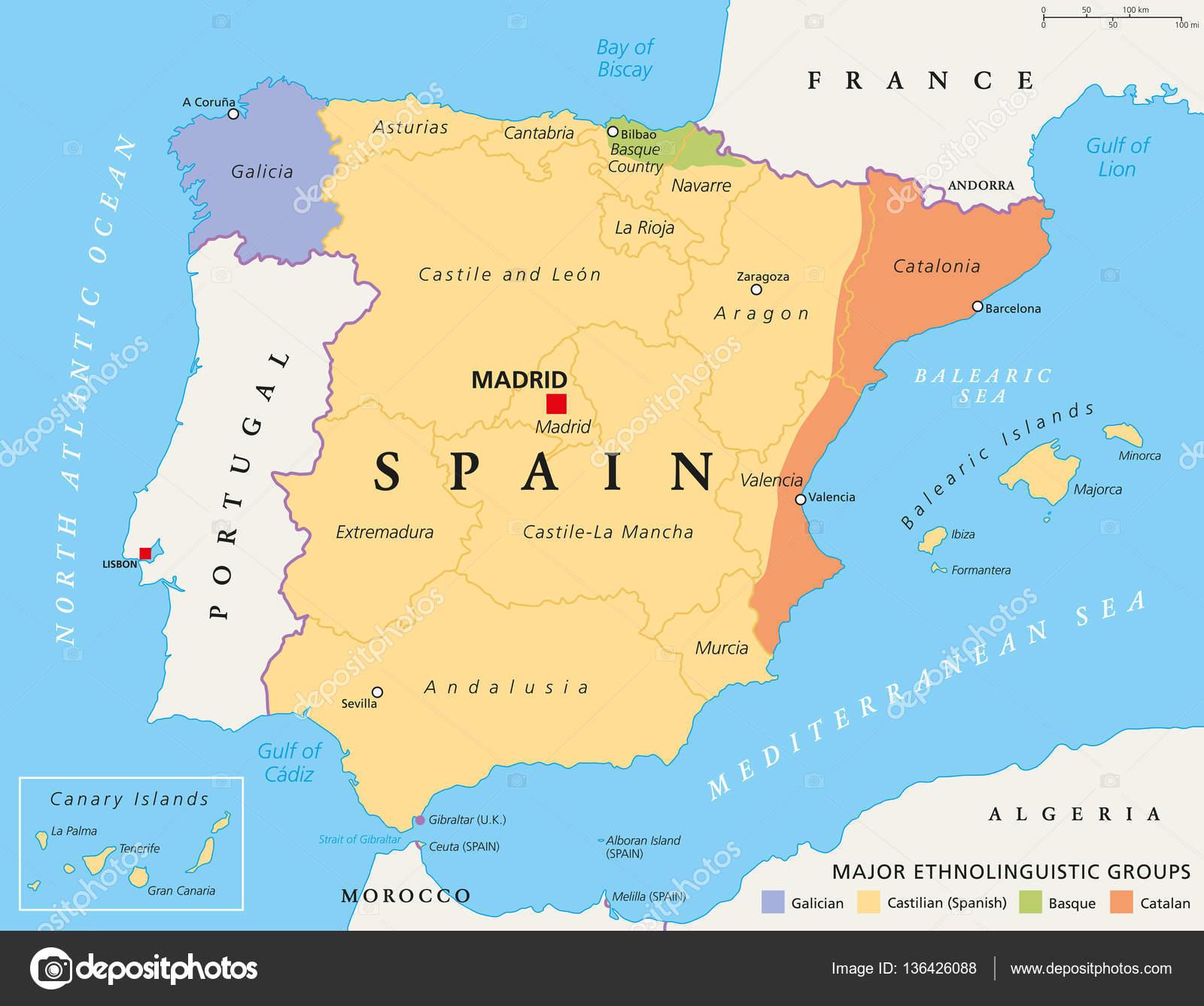 Map Of Spain Political.Spain Autonomous Communities Political Map Stock Vector C Furian