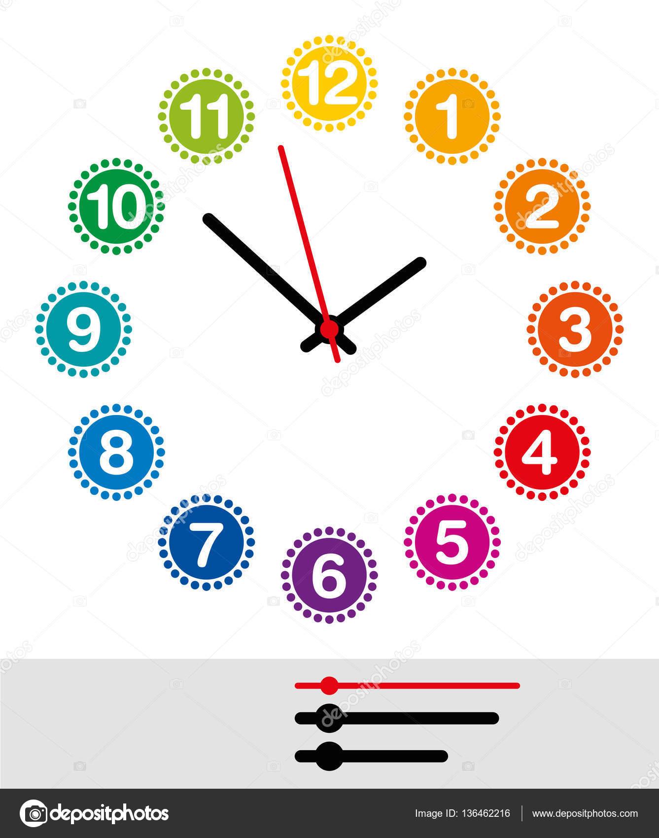 e222d9f58c Arco-íris colorido mostrador de relógio com números de um a doze. Analógico  mostrador de relógio e com ponteiros pretos e vermelhos, mostrando as horas,  ...