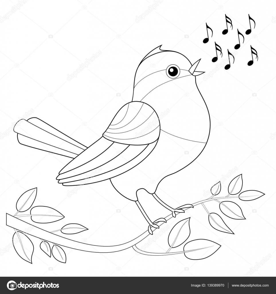 Songbird Boyama Resmi Stok Vektör Furian 139389970