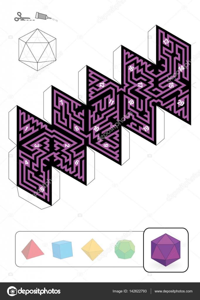 Laberinto de icosaedro sólido Platonic — Vector de stock © Furian ...