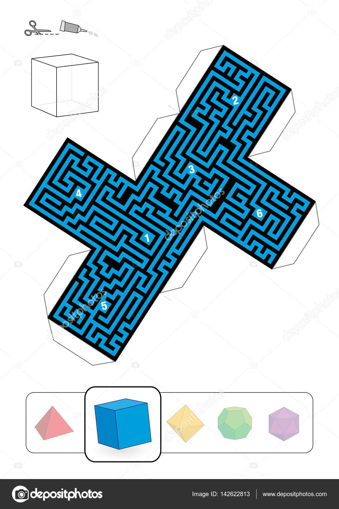 Platonic Solid Hexahedron Maze — Stock Vector © Furian #142622813