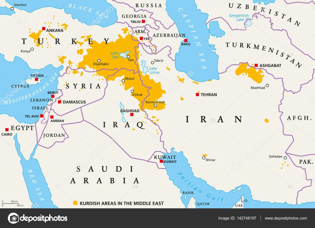 Kurdish areas in the Middle East, political map — Stock ...