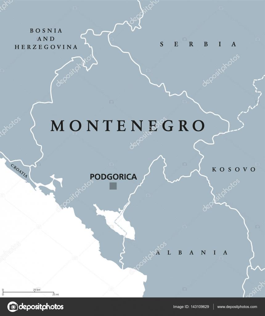 Montenegro Political Map Stock Vector Furian - Montenegro map download