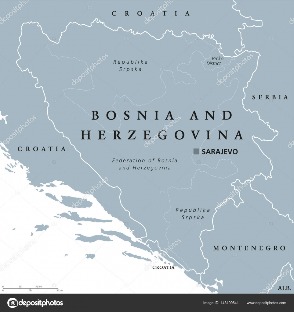 Bosnia and Herzegovina political map with capital Sarajevo — Stock ...