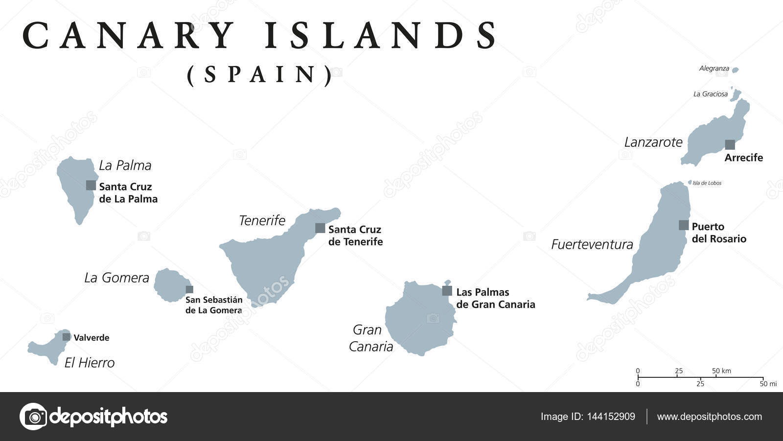 Canary Islands political map Stock Vector Furian 144152909