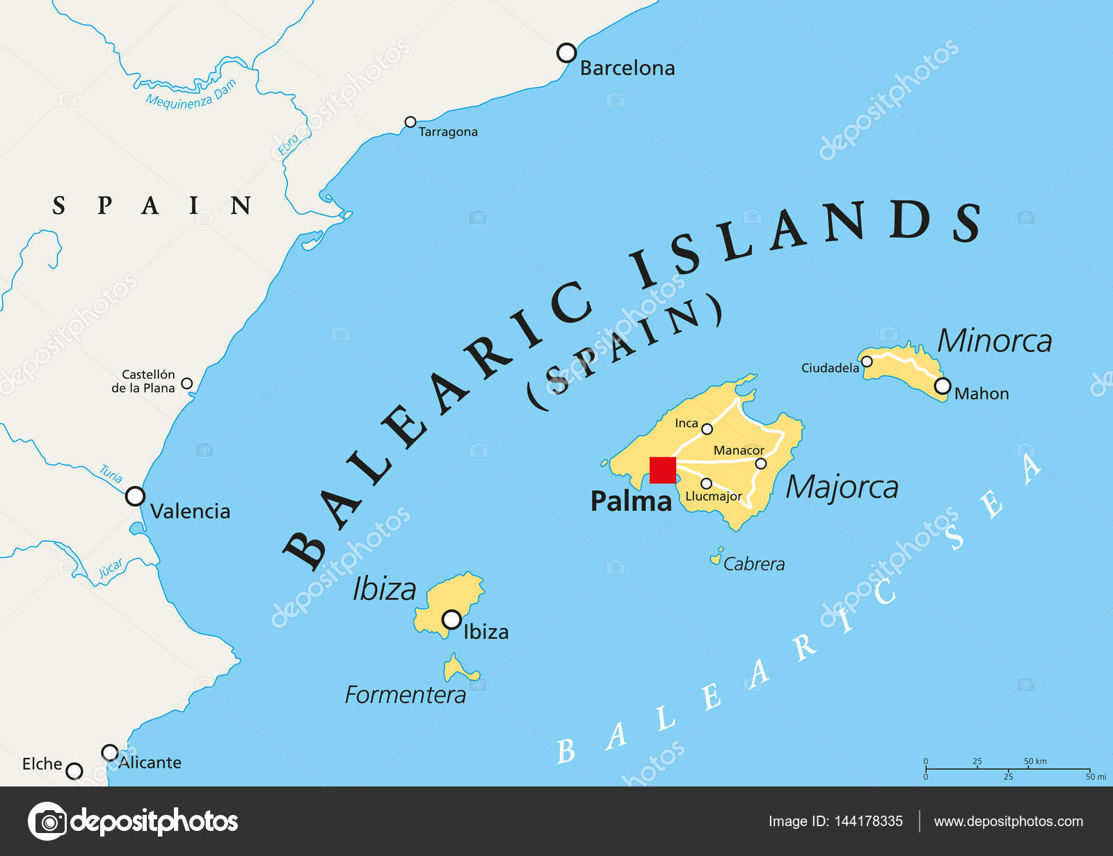 Balearic Islands political map Stock Vector Furian 144178335