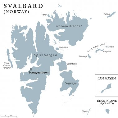 Svalbard, Jan Mayen and Bear Island political map