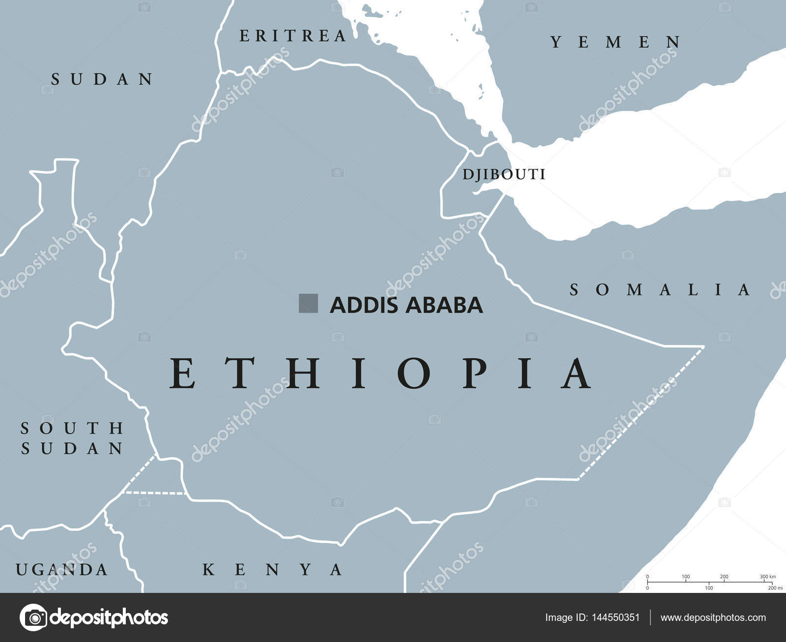 Ethiopia Location On Africa Map.Ethiopia Political Map Stock Vector C Furian 144550351