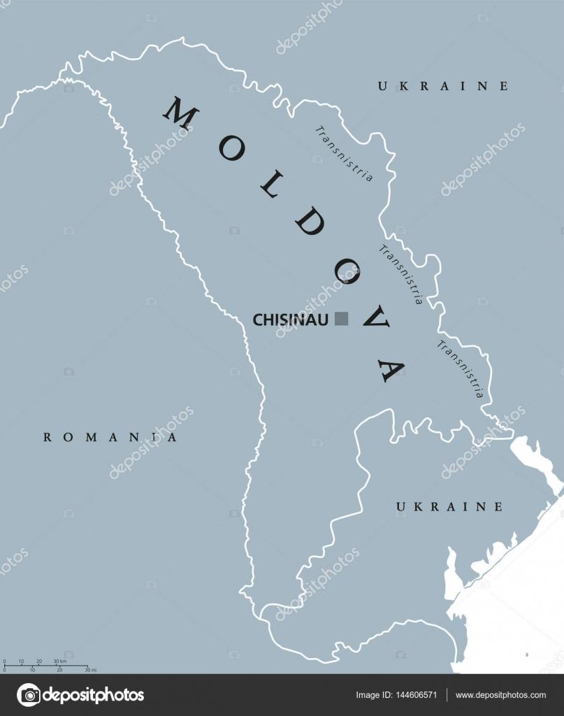 Moldawien Karte.Politische Landkarte Moldawien Stockvektor Furian 144606571