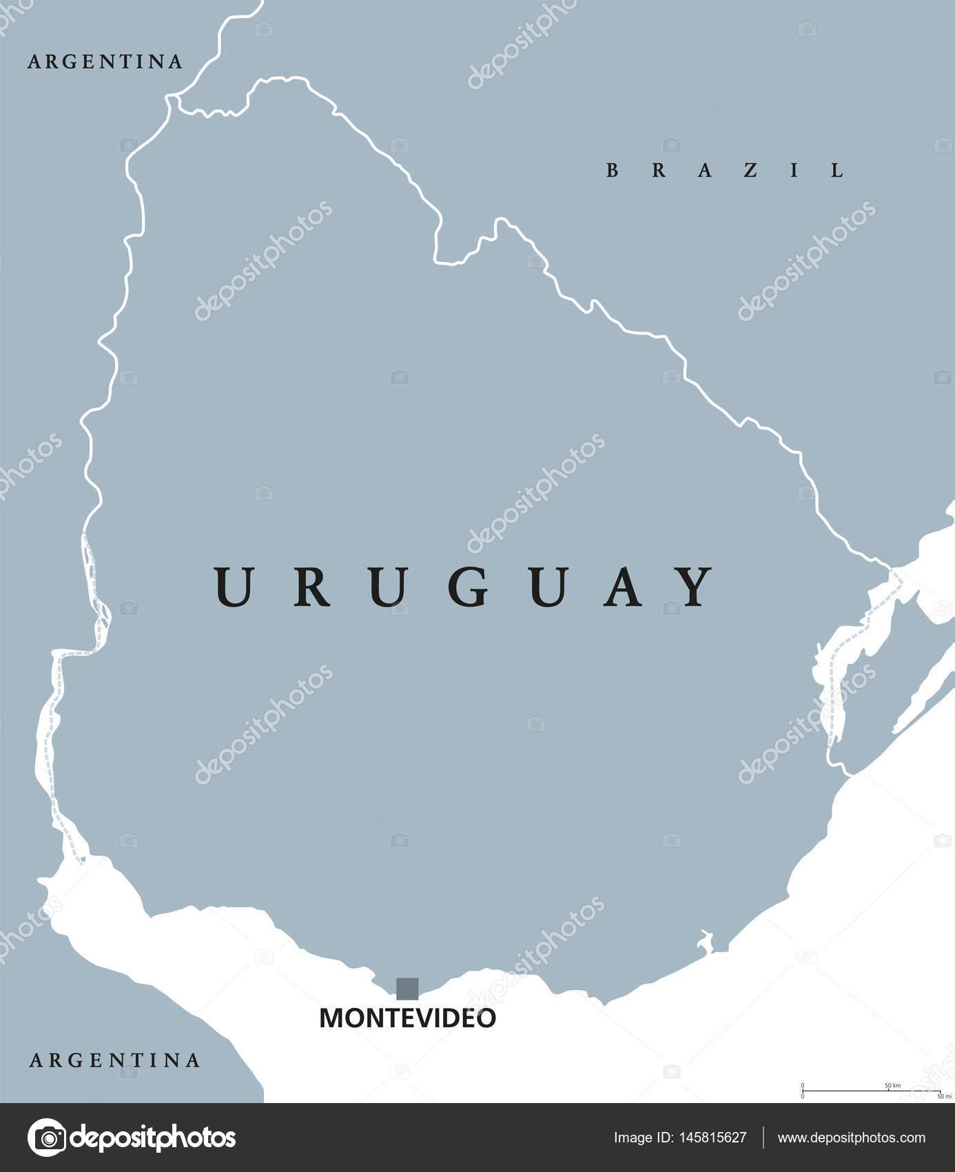 Uruguay Political Map Stock Vector C Furian 145815627