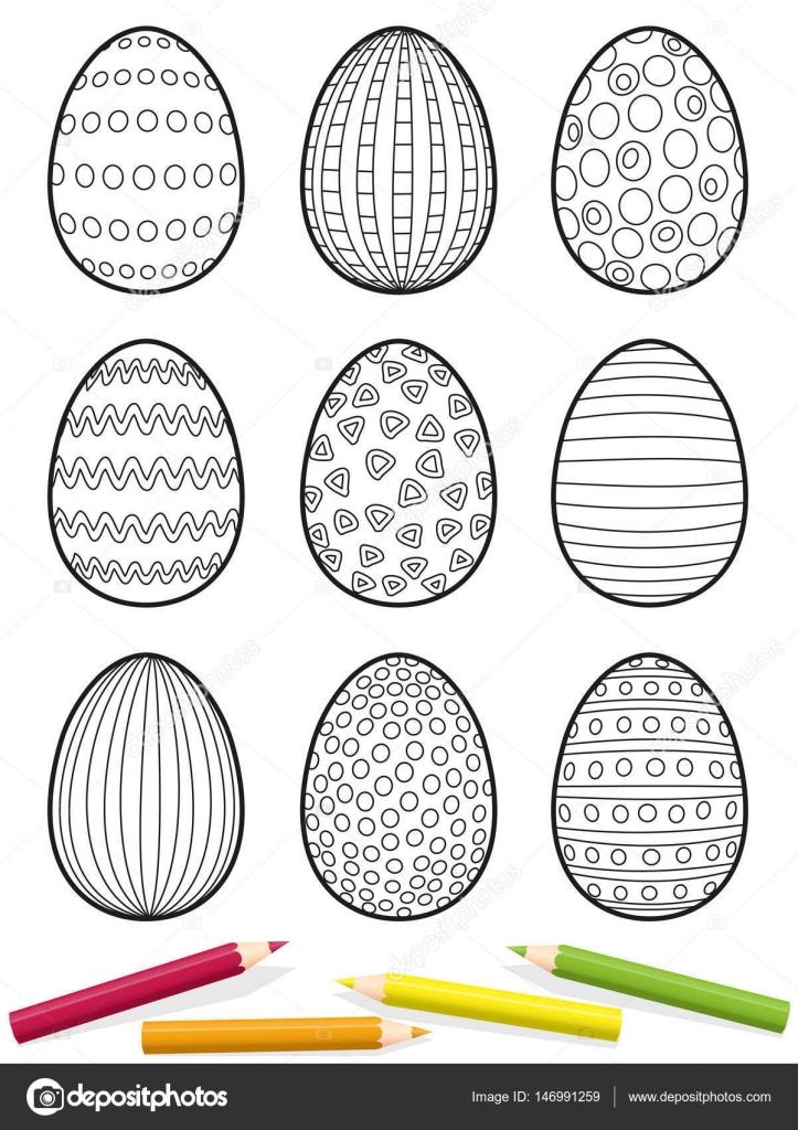 Paskalya Yumurtası Resmi Boyama Stok Vektör Furian 146991259