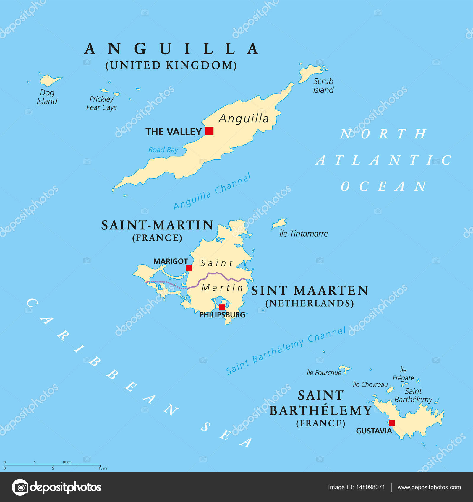 Anguilla SaintMartin Sint Maarten and Saint Barthelemy map