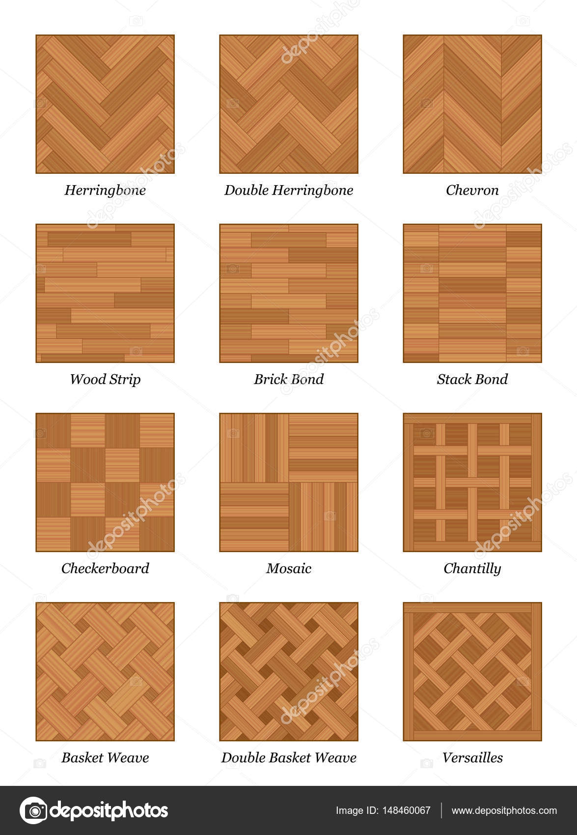 나무 마루 바닥 패턴 설정된 Parquetry — 스톡 벡터 © Furian #148460067