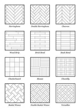 Parquet Patterns Collection Outline Illustration