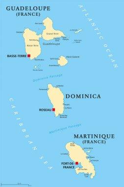 Guadeloupe, Dominica and Martinique political map