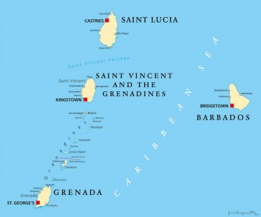 Barbados, Grenada, Saint Lucia and Saint Vincent political map