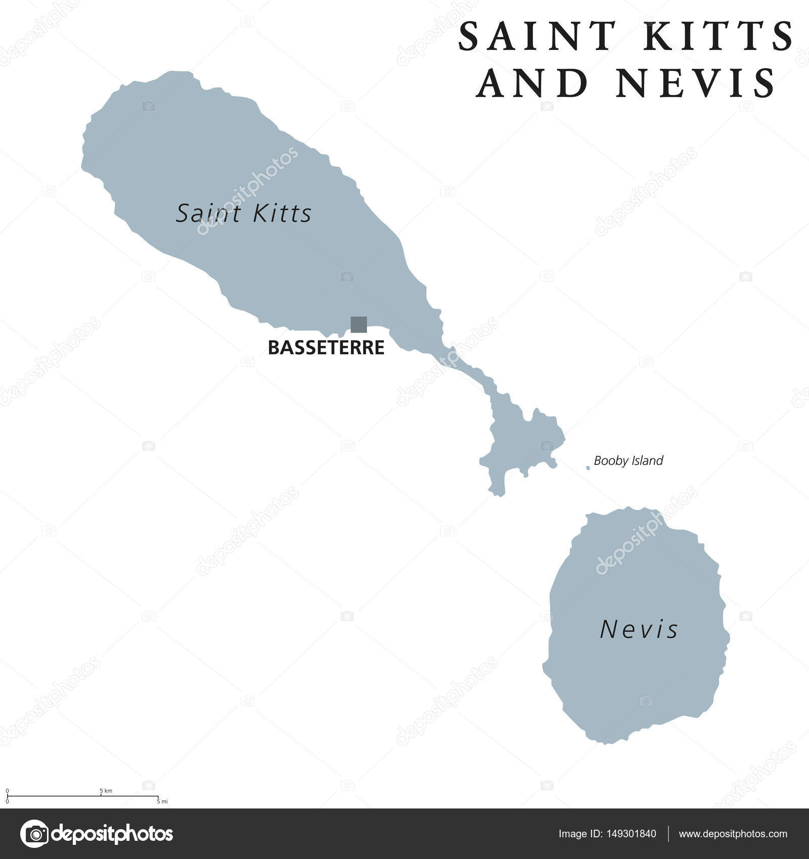 Saint Kitts and Nevis political map Stock Vector Furian 149301840