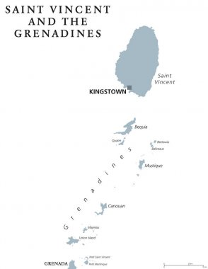 Saint Vincent and the Grenadines political map