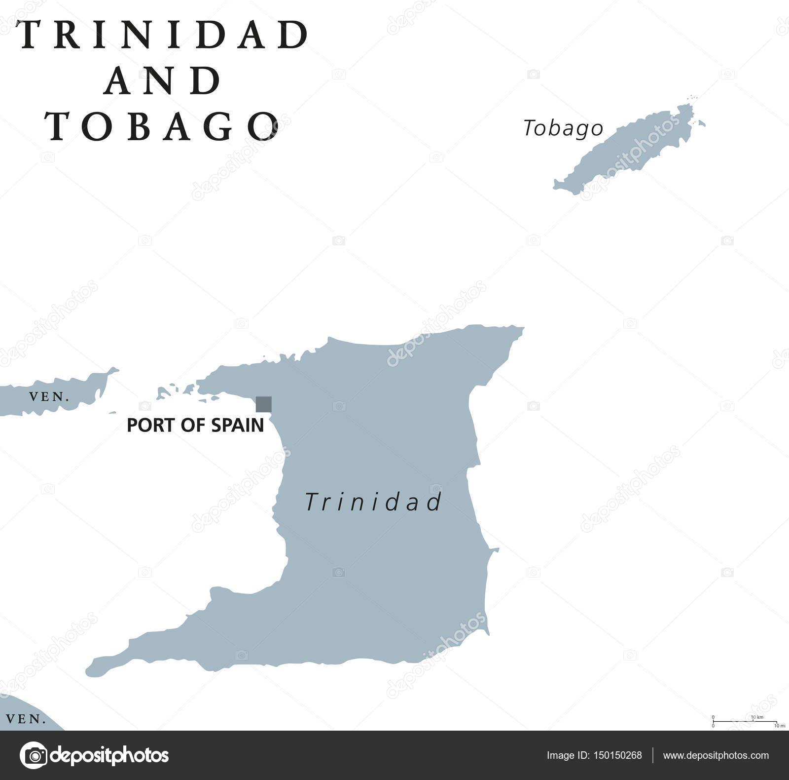 karta trinidad Trinidad och Tobago politiska karta — Stock Vektor © Furian #150150268 karta trinidad