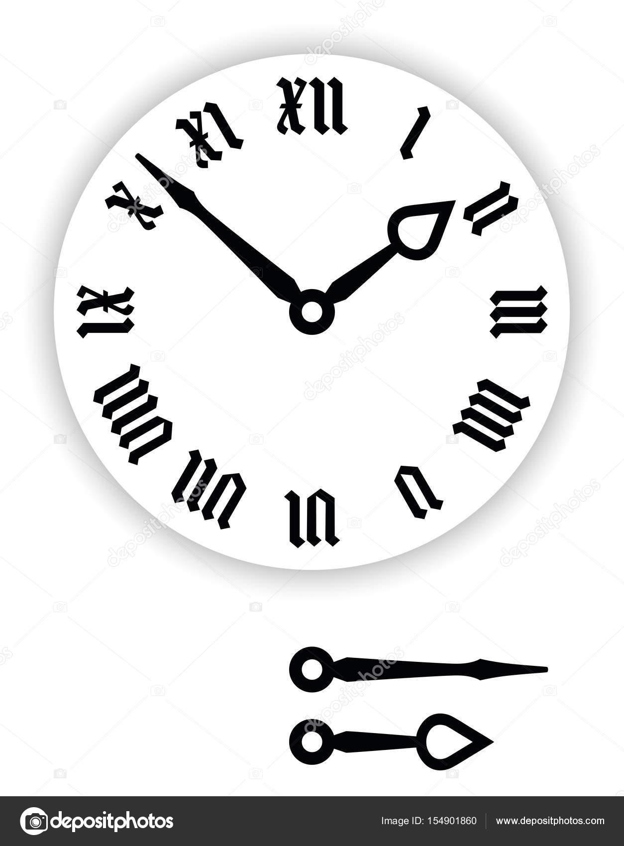 fraktur roman numerals clock face stock vector furian 154901860