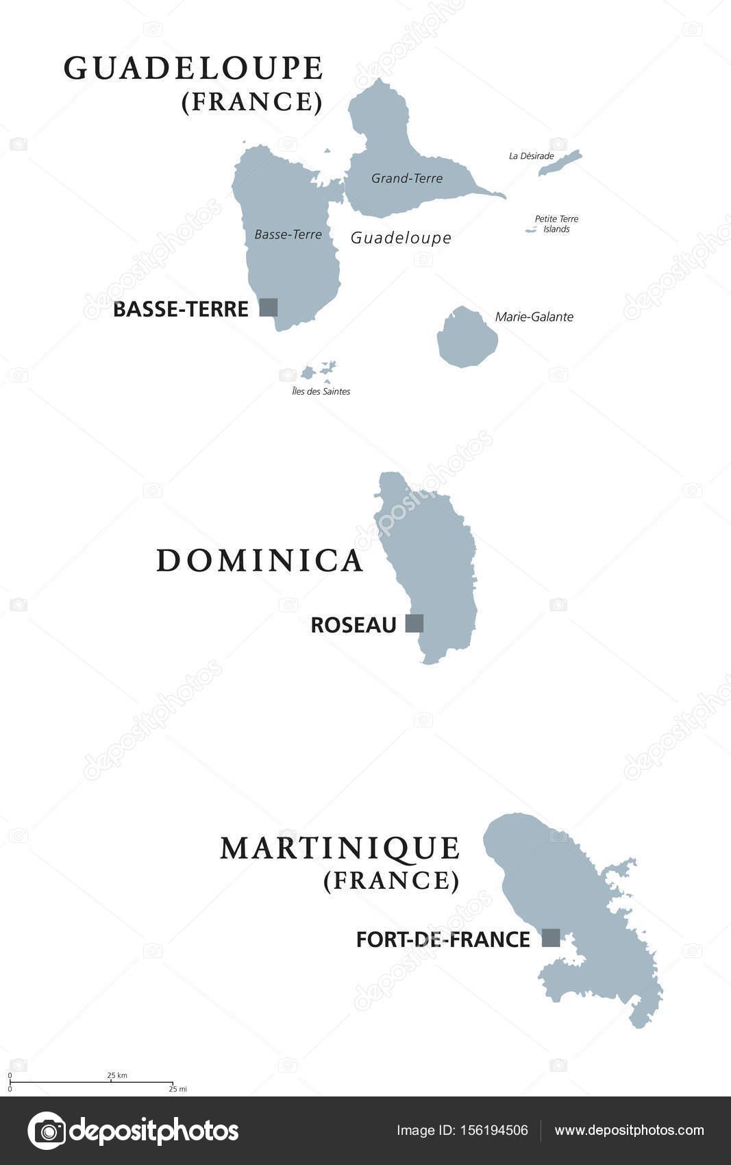 Guadeloupe Dominica Martinique Political Map Stock Vector - Dominica political map