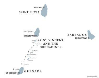 Barbados, Grenada, Saint Lucia, Saint Vincent political map