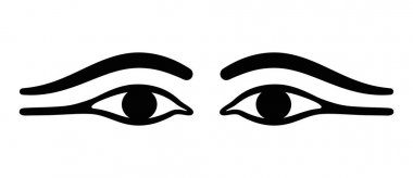Ancient Egypt eyes with long eye lids