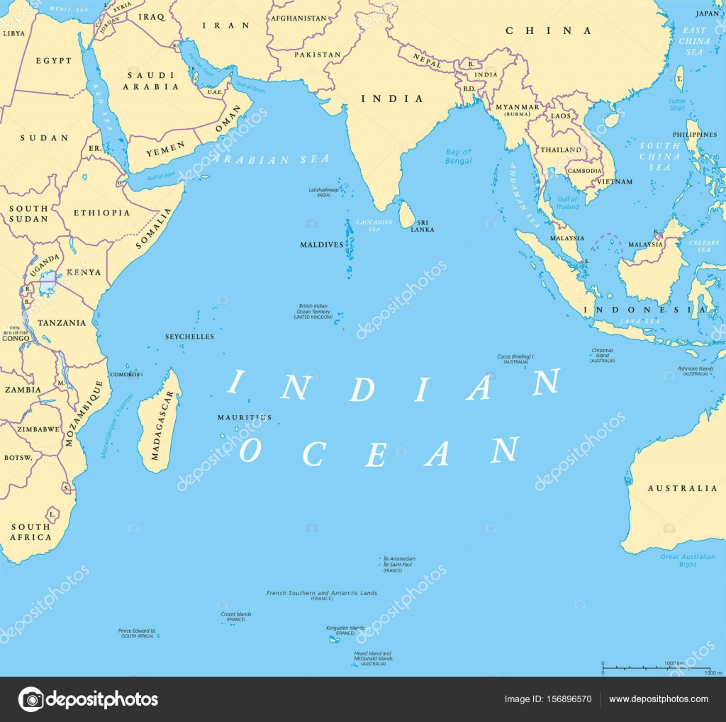 Indian Ocean Political Map Stock Vector Furian - China political map in english