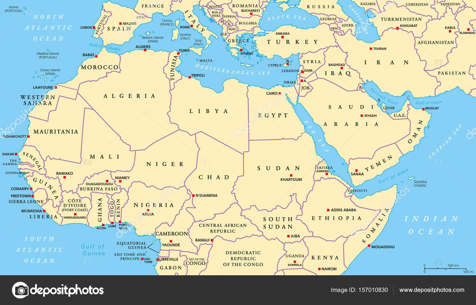 North Africa and Middle East political map — Stock Vector © Furian ...