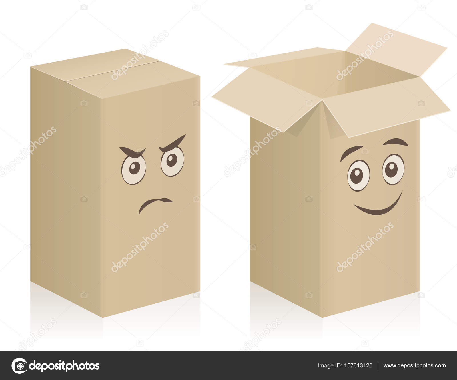 Comic Boxes Faces Closed Open — Stock Vector © Furian #157613120